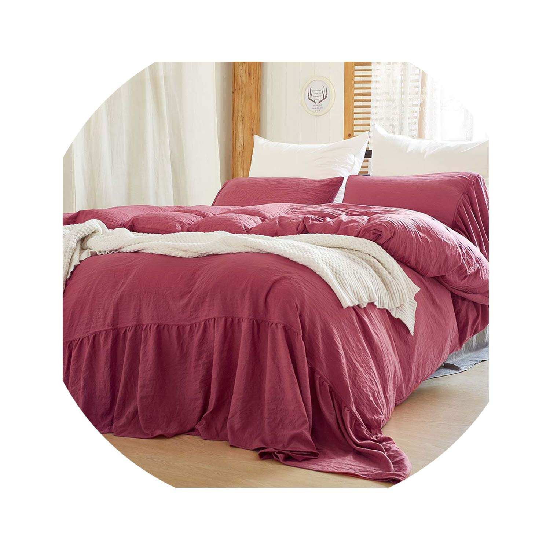 rather be Bedding Set Duvet Cover Set King Queen Twin Size 3pcs/Set Bed Duvet and Pillowcase Quilt Duvet Cover fundas edredones,Bean Sand red,US-Queen