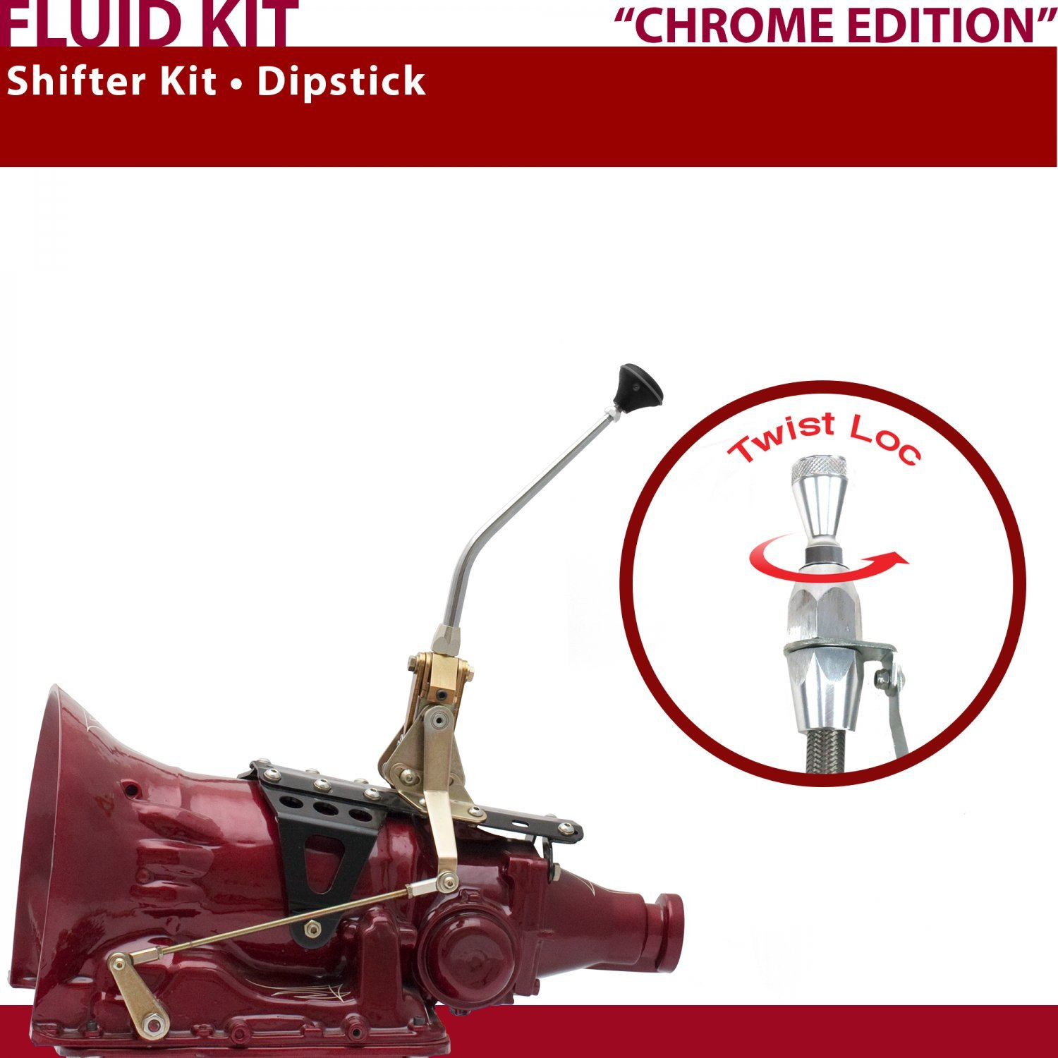 American Shifter 405001 C6 Shifter Kit 10 Dipstick CHR Push Button Ringed Knob For D7292