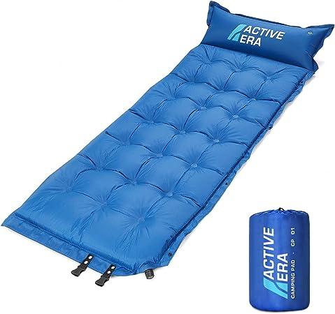 Active Era Esterilla de Aire Autoinflable para Camping con Almohada y Funda | Sleeping Pad de Espuma Cómodo y Ultraligero