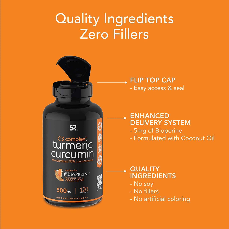 Turmeric Curcumin C3 Complex 500mg, Enhanced with Black Pepper & Organic Coconut Oil for Better Absorption; Non-GMO & Gluten Free - 120 Count