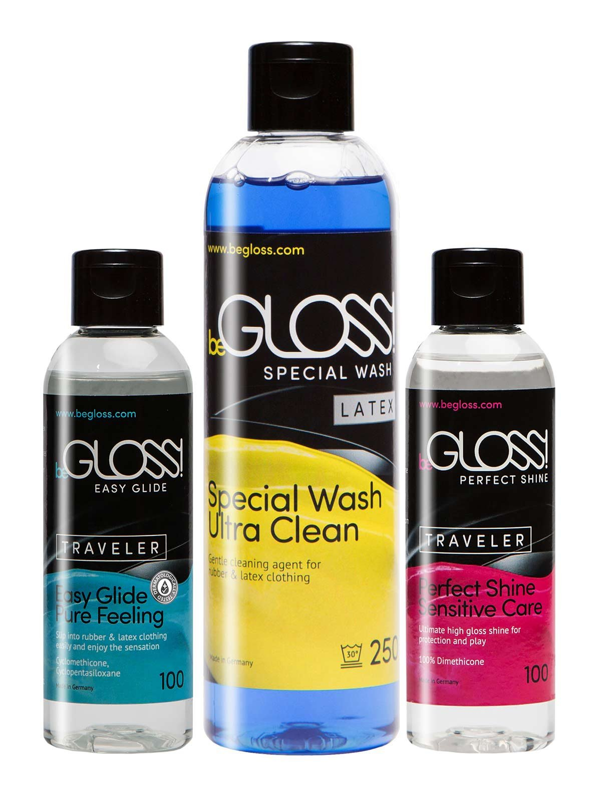 beGloss Perfect Shine 100 - Easy Glide 100 - Special Wash 250 Combo - for Latex Clothing