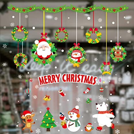 Removable Christmas Static Window Cling Wall Decal Glass Sticker Home Shop Decor