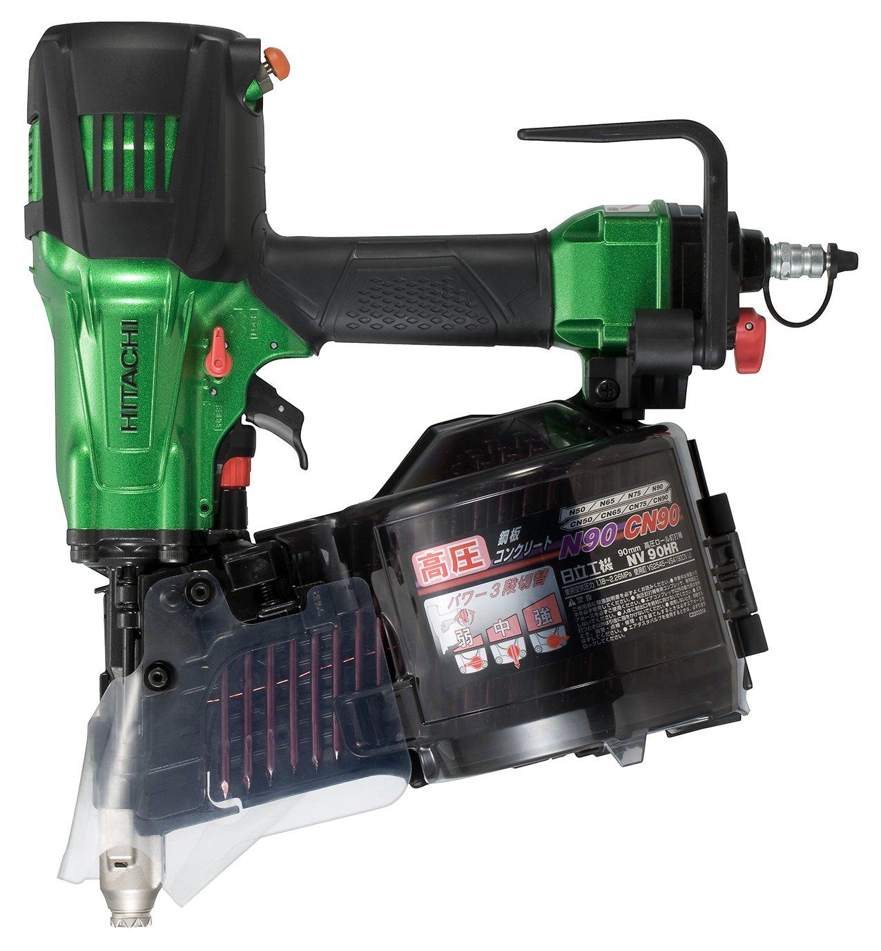 メタリックグリーン 高圧ロール釘打機 /(SL/) 日立工機 ケース付 90mmモデル NV90HR パワー切替機構付