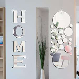Home Sign Letters Acrylic Mirror Wall Stickers Solid Circle Wall Stickers 3D Mirror Wall Decals DIY Removable Mirror Wall Stickers for Home Living Room Decoration (Silver)