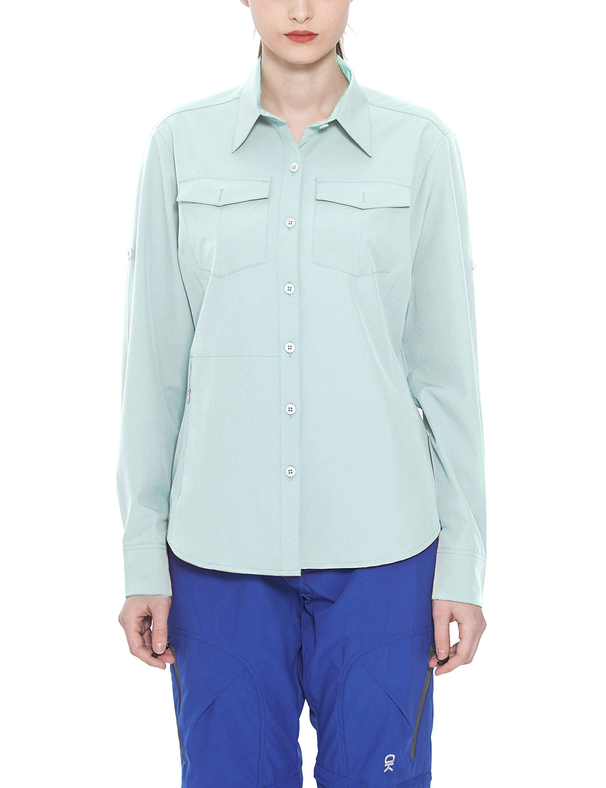 Little Donkey Andy Women's Stretch Quick Dry Water Resistant Outdoor Shirts UPF50+ for Hiking, Travel, Camping Light Blue Size XS by Little Donkey Andy