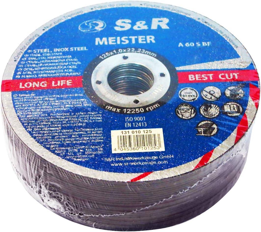 S&R 25 Discos de corte 125 Metal y Acero INOX .Set de 25 discos 125x 1 mm A60 S-BF para amoladora ángular