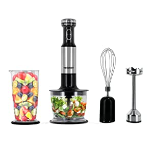 Tenergy Immersion Blender, 200W Multi-Speed Food Mixer Set with Stainless Steel Hand Blender, Chopper, Whisk, Beaker Attachment for Soup, Sauce, Baby Food, Purée and Emulsify