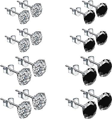 ZITFRI 8 Paires de Boucle dOreilles en Argent 925 pour Femmes Oxyde de Zirconium Noir et Blanc