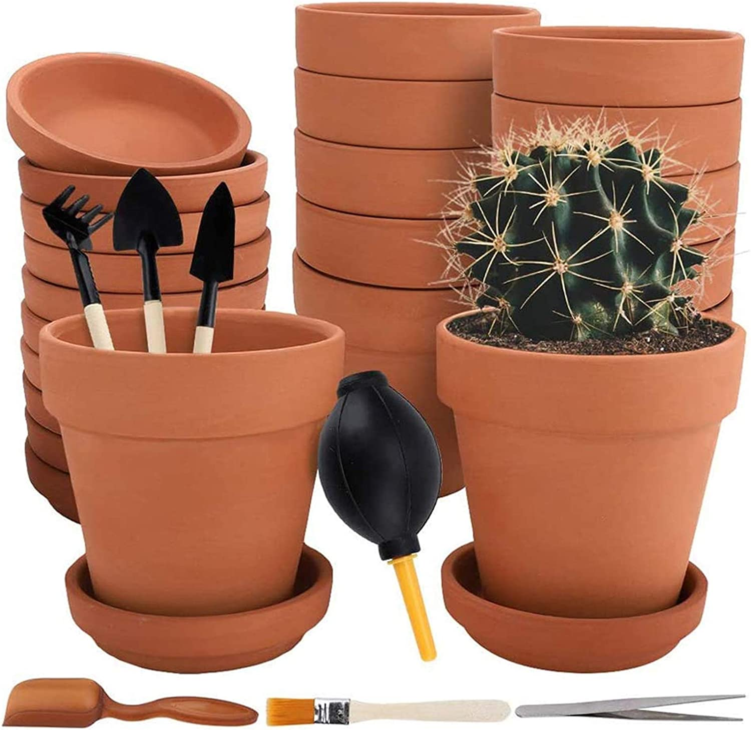 Nilos 12 Pack Terra Cotta Pots with Saucer - 12Pcs 3 inches Clay Pots with 7Pcs Succulent Tools Mini Flower Pot Planters for Succulent Display, Indoor, Outdoor