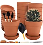Nilos 12 Pack Terra Cotta Pots with Saucer - 12Pcs 3 inches Clay Pots with 7Pcs Succulent Tools Mini Flower Pot Planters…
