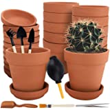 Nilos 12 Pack Terra Cotta Pots with Saucer - 12Pcs 3 inches Clay Pots with 7Pcs Succulent Tools Mini Flower Pot Planters for