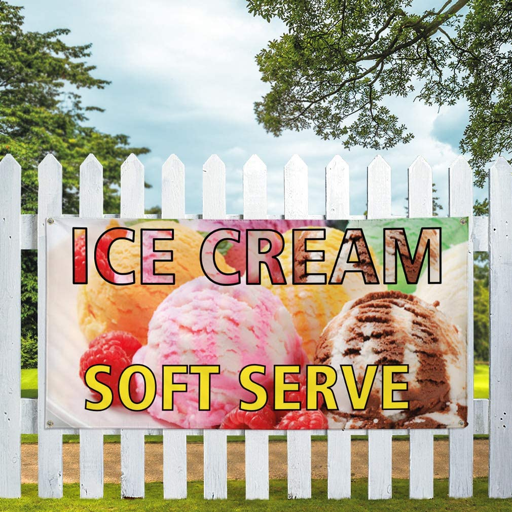 Vinyl Banner Sign Ice Cream Soft Serve Retail Cold Dessert Marketing Advertising White 32inx80in Set of 2 6 Grommets Multiple Sizes Available