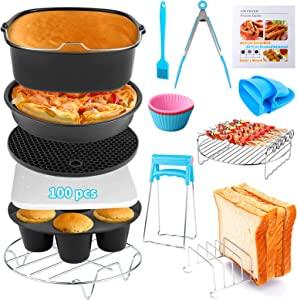 Air Fryer Accessories 14 PCS for COSORI Instant Vortex CHEFMAN COMFEE Ninja Gowise Gourmia Dash Power XL Air Fryer, Fit 3.2-4.2-5.8QT Square Air Fryer with Cake Pan, Pizza Pan, Air Fryer Liner