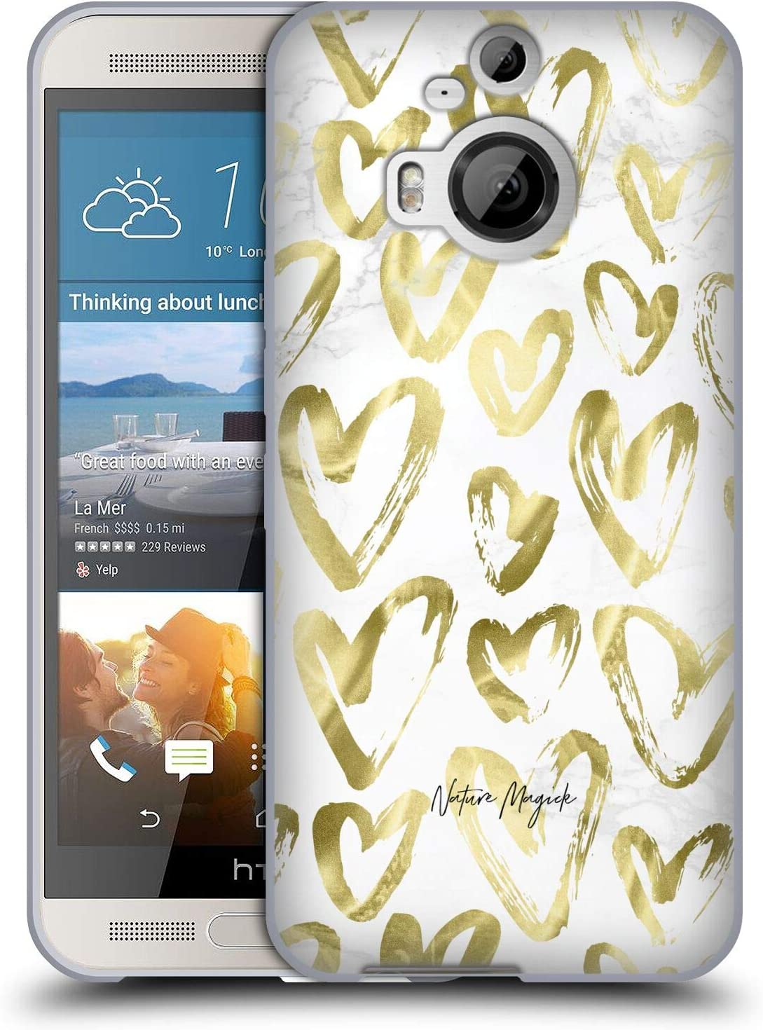 Head Case Designs Officially Licensed Nature Magick Gold Love Marble Love Hearts Soft Gel Case Compatible with HTC One M9+