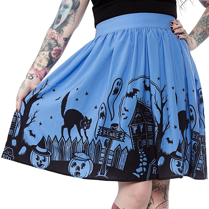 Vintage Retro Halloween Themed Clothing Sourpuss Haunted House Skirt $47.99 AT vintagedancer.com