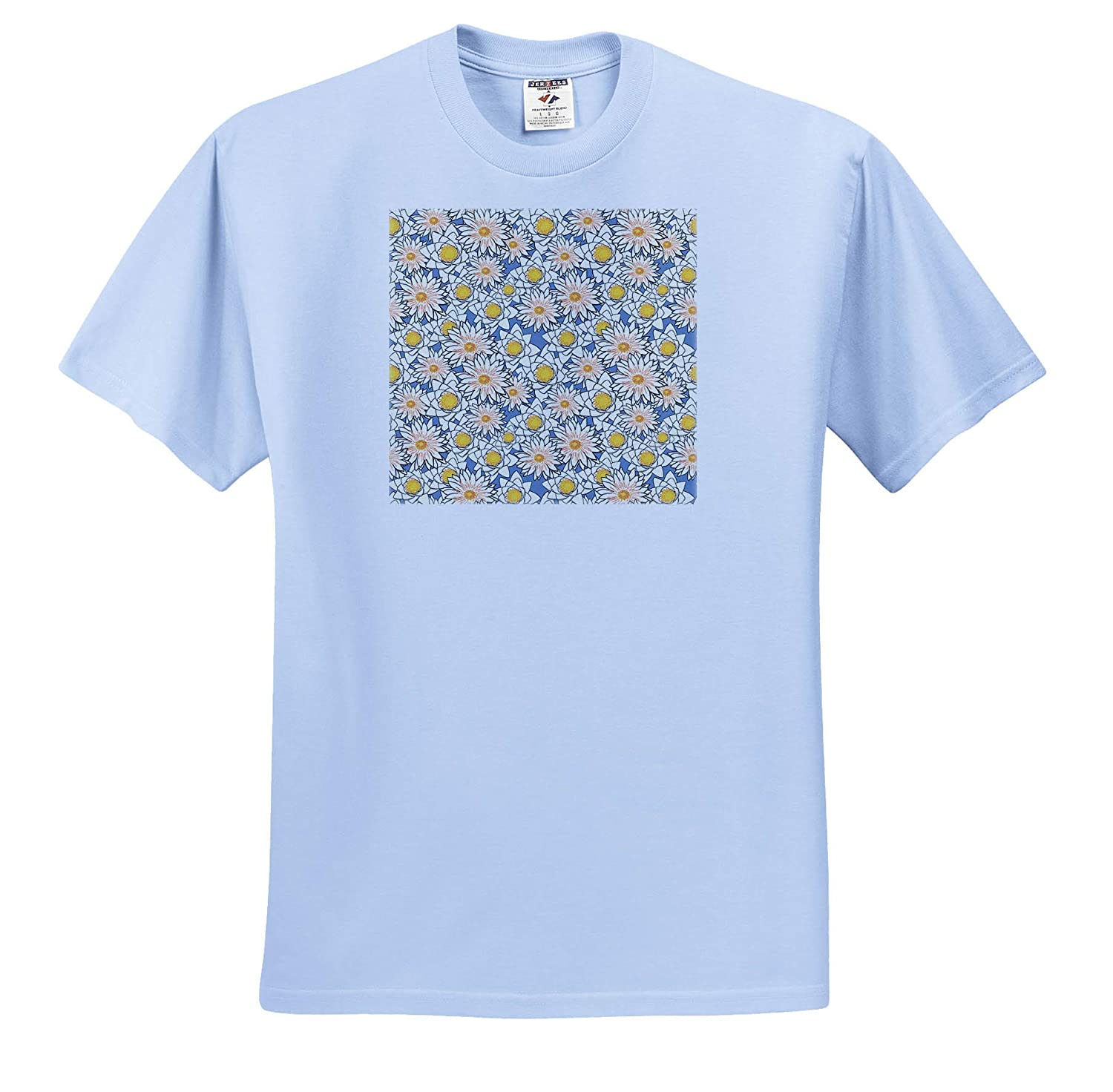 Pattern Floral Yellow Water Lily Flowers on Blue T-Shirts Cheerful Pattern of White 3dRose Alexis Design