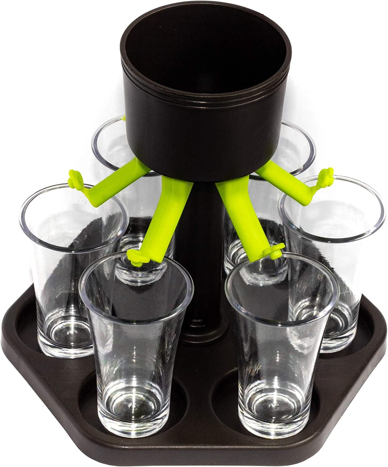 6 Shot Glass Dispenser and Holder - With Six Glasses and Plug - Buddy Dispenser for Drinking Games, Dinner Party - Wine, Cocktail and Liqour Dispenser – Black