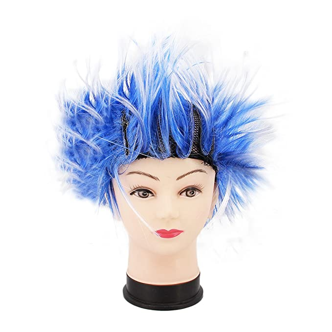 Multifit Unisex Funky Spiky Wigs Crazy Halloween Costumes Cosplay Punk Wig Accessory(Blue)