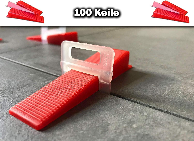 400 Laschen 100 Keile 2,5mm Das G/ÜNSTIGE Fliesen Nivelliersystem Zange Keile Zuglaschen einzeln oder im Set 1mm 1,5mm 2mm 2,5mm 3mm Mega-Auswahl an Variationen 400 Laschen 100 Keile, 2,5mm