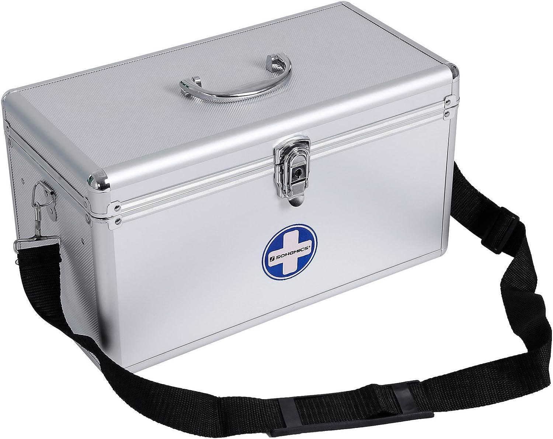 SONGMICS JBC36S - Botiquín de Primeros Auxilios (Aluminio, Portable), Color Plateado