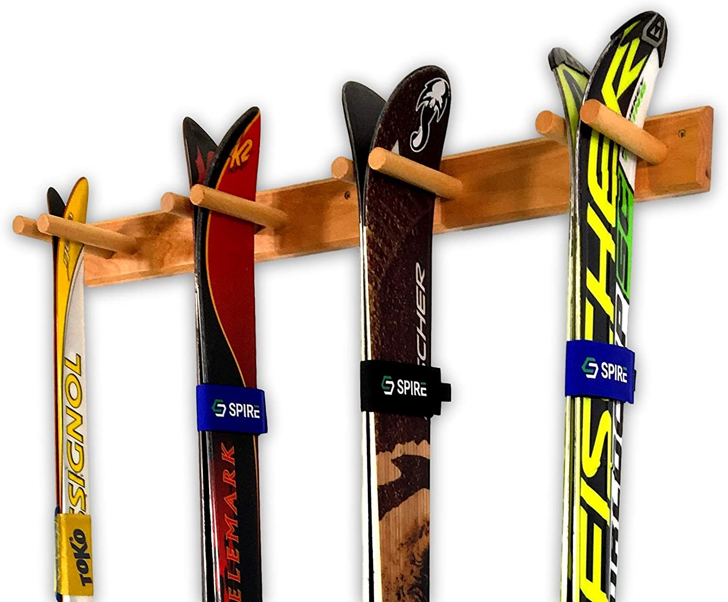 StoreYourBoard Timber Ski Wall Rack, 4 Pairs of Skis Storage, Wood Home and Garage Mount System