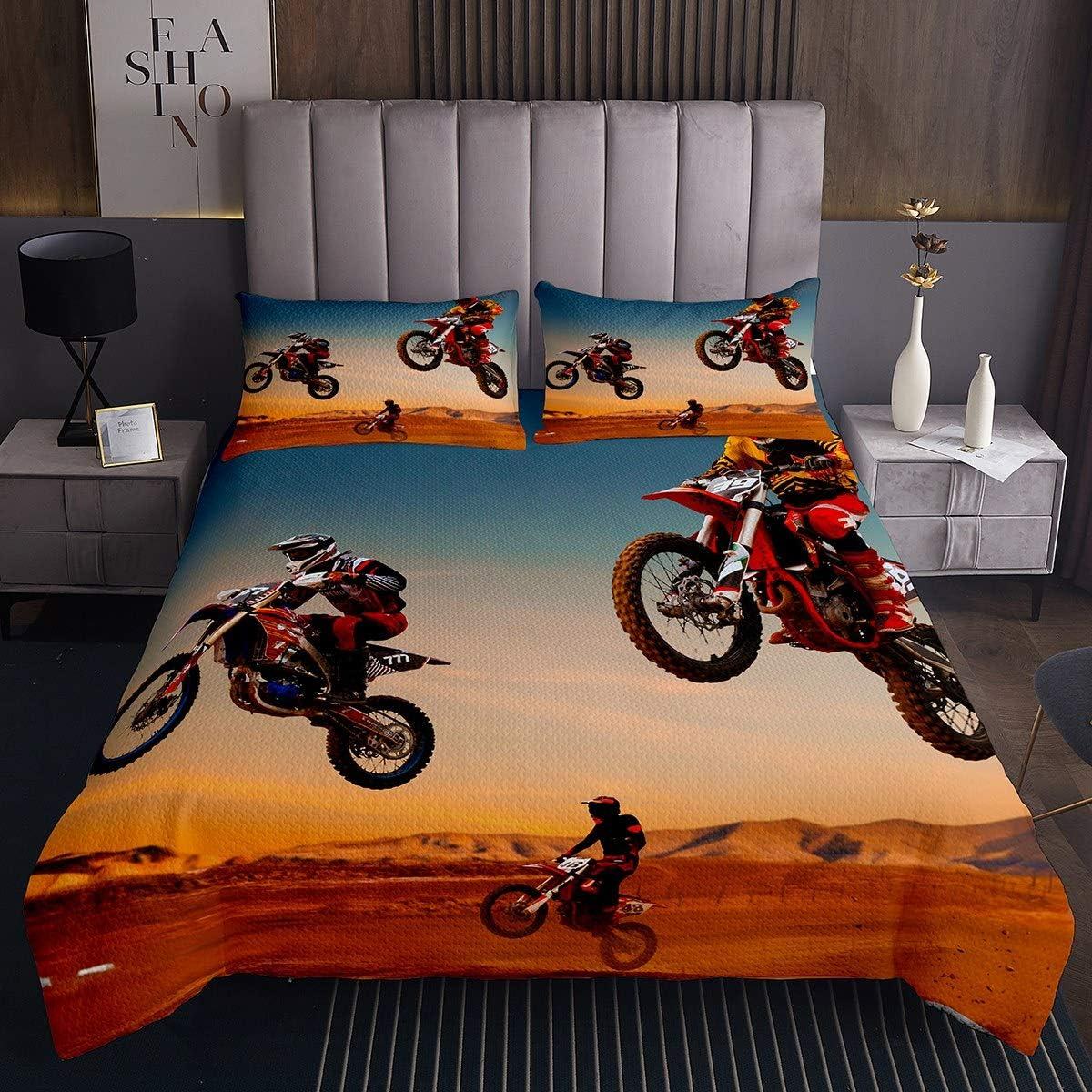 Blue Erosebridal Kids Dirt Bike Quilted Coverlet Queen Size Motocross Rider Bedding Set Motorbike Sport Bedspread for Boys Girls Teens Motorcycle Extreme Sport Bedding Collection for Living Room