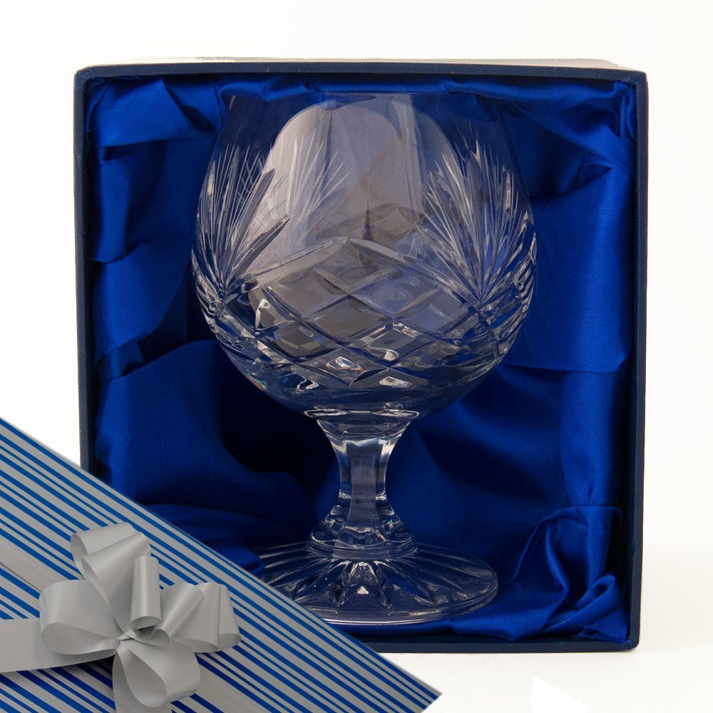Brandy Glass, A Fully Cut, 24% Lead Crystal Brandy Glass, in a Satin Lined Presentation Box, with Gift Wrap and Ribbon as shown, for you to use if you choose. Wedding, Birthday, Retirement Gift