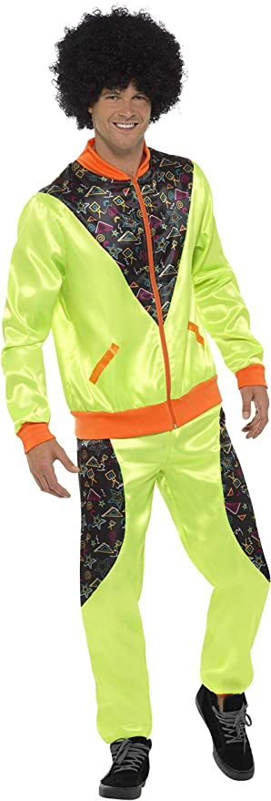 80s Costumes, Outfit Ideas- Girls and Guys Smiffys Retro Shell Suit Costume Mens Neon Green M - Size 38-40 £18.48 AT vintagedancer.com