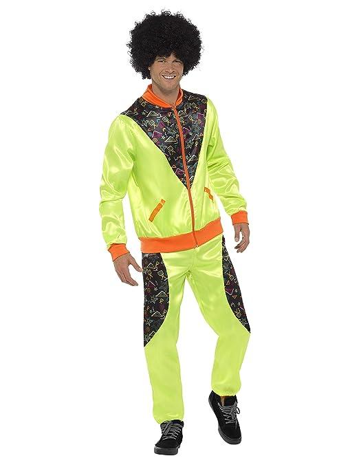 Smiffys Chándal Retro de Tactel, para Hombre, Verde flúor, con Chaqueta y pantalón