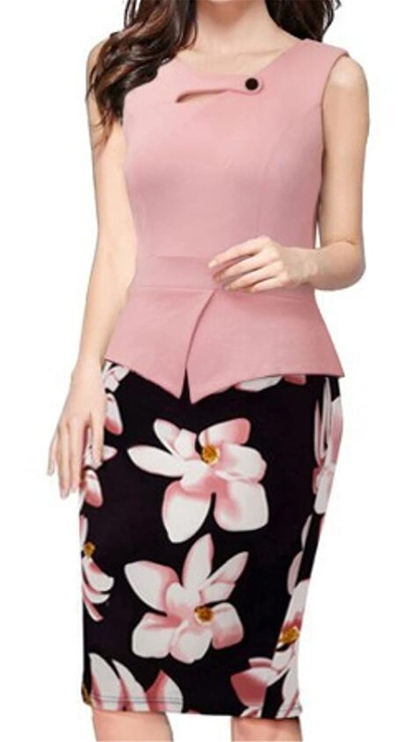 BLTR-Women Casual Formal Chic Bodycon Dress Floral Business Work Bodycon Pencil Dress