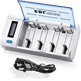 EBL LCD Battery Charger with Discharge Function for Ni-MH Ni-CD AA, AAA, C, D Rechargeable Batteries