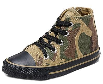 6b06099f30b31 VECJUNIA Garçon Fille Multicolore Fermeture Eclair Chaussures Montantes  Sneakers Militaire Camouflage 25 EU