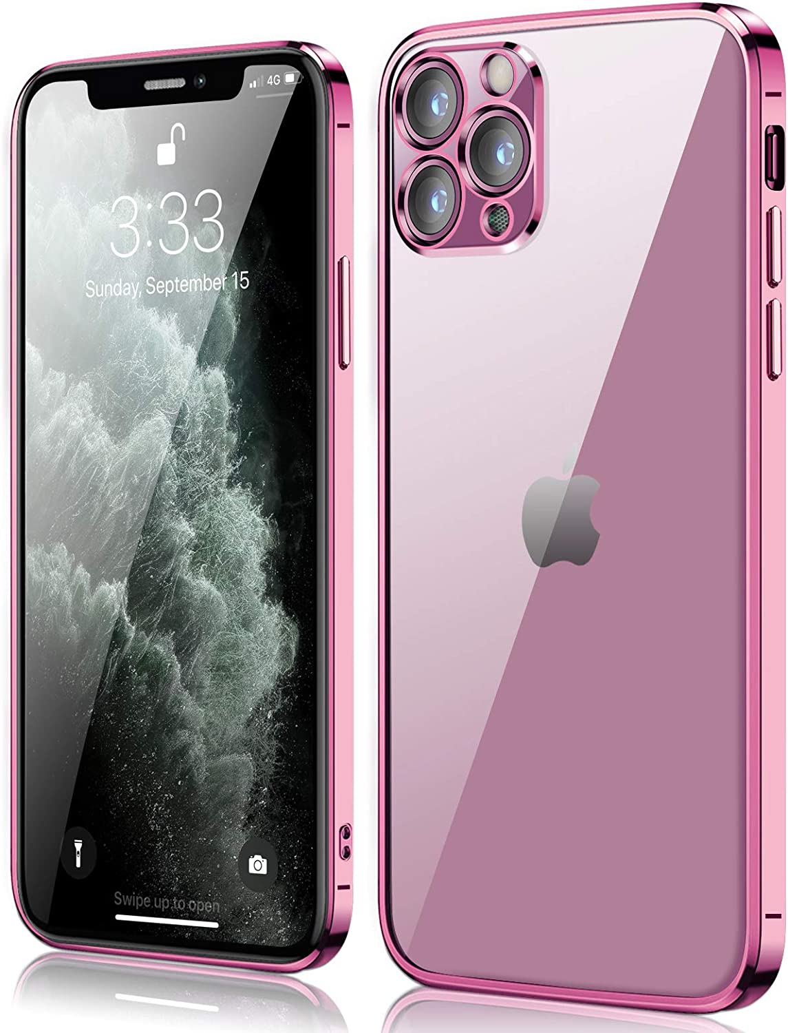 Compatible with iPhone 11 pro max Case, peafowl Clear Slim Soft Full Coverage Protective TPU Silicone Cell Phone Case Pink for iPhone 11 Pro Max (6.5 inch)