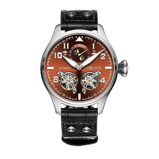 oblvlo relojes de piloto automático de los hombres tourbillon calendario completo acero relojes obl8232: Amazon.es: Relojes