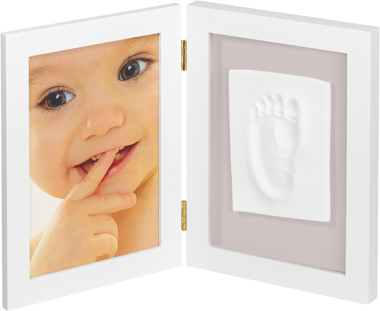 My Sweet Memories Portafoto Cornice con Kit Impronta per Calco Mani e Piedi del Neonato Bianco