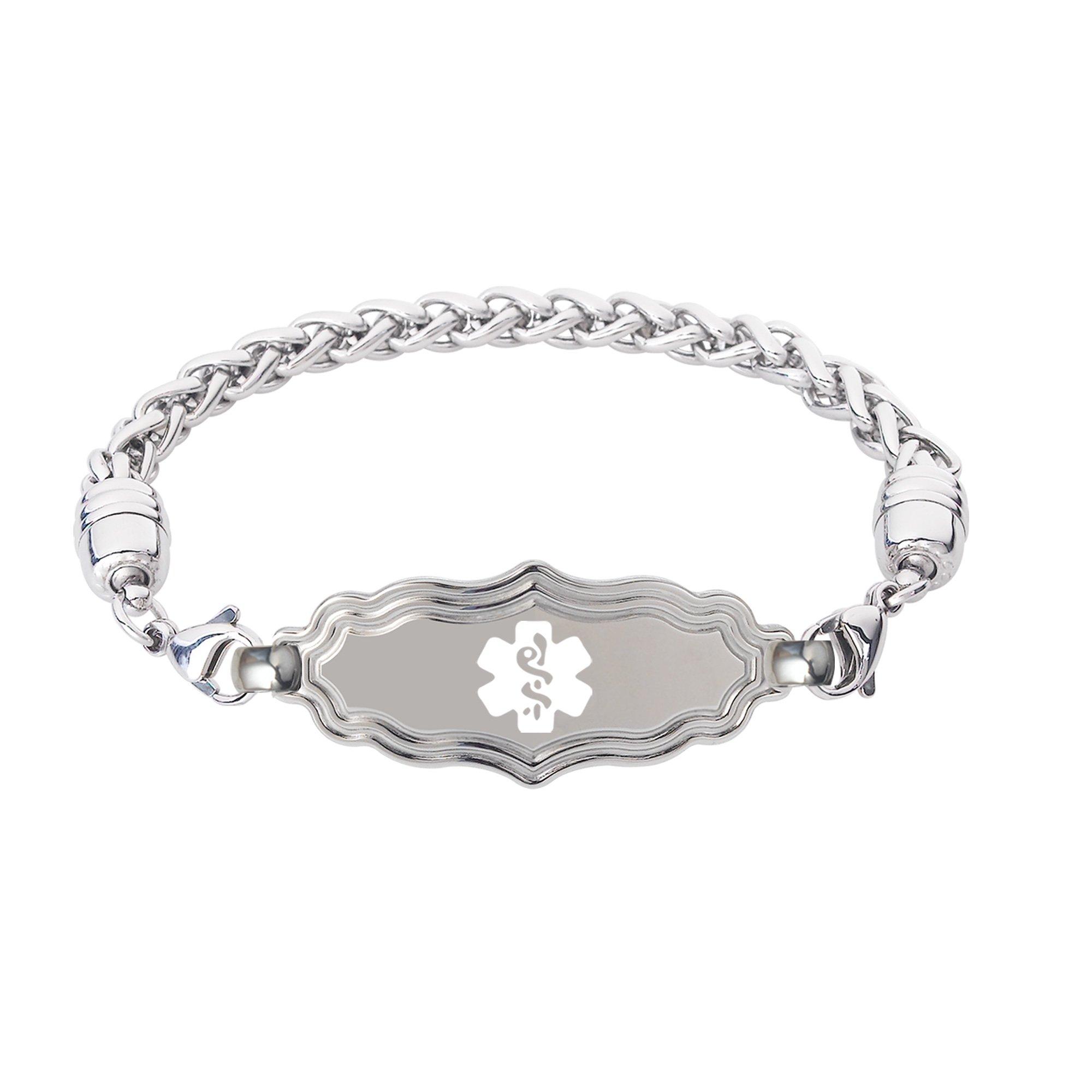 Divoti Custom Engraved Victorian Art Deco Medical Alert Bracelet -Wheat Stainless -White-8.0''