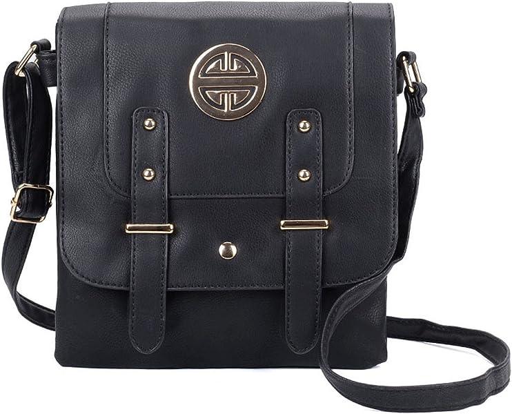 Womens Ladies Metal And Buckle Detail Flap Over Cross Body Shoulder Bag  Handbag (Black)  Amazon.co.uk  Shoes   Bags b0b885fbfa449