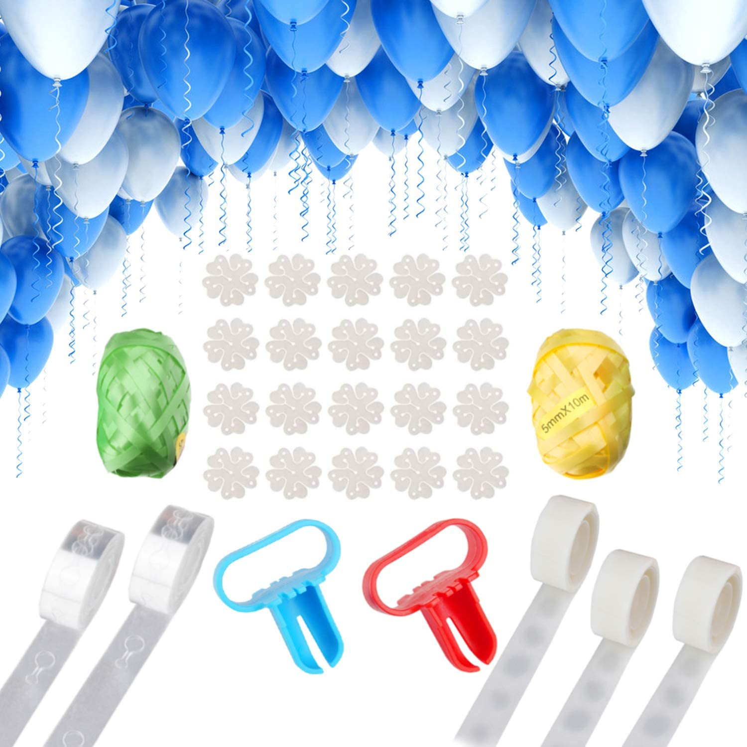 Upgraded Version Okreview Balloon Arch Garland Decorating Strip Kit 4 Rolls Balloon Tape Strips with 4 Rolls Balloon Glue Point Dots Stickers