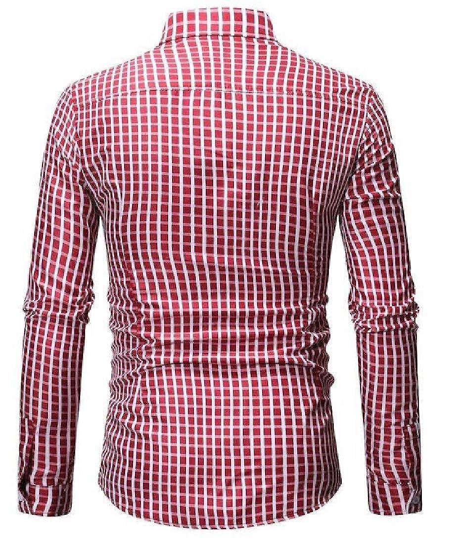 YIhujiuben Men Pure Color Office Long-Sleeve Work Wear Slim Dress Shirt