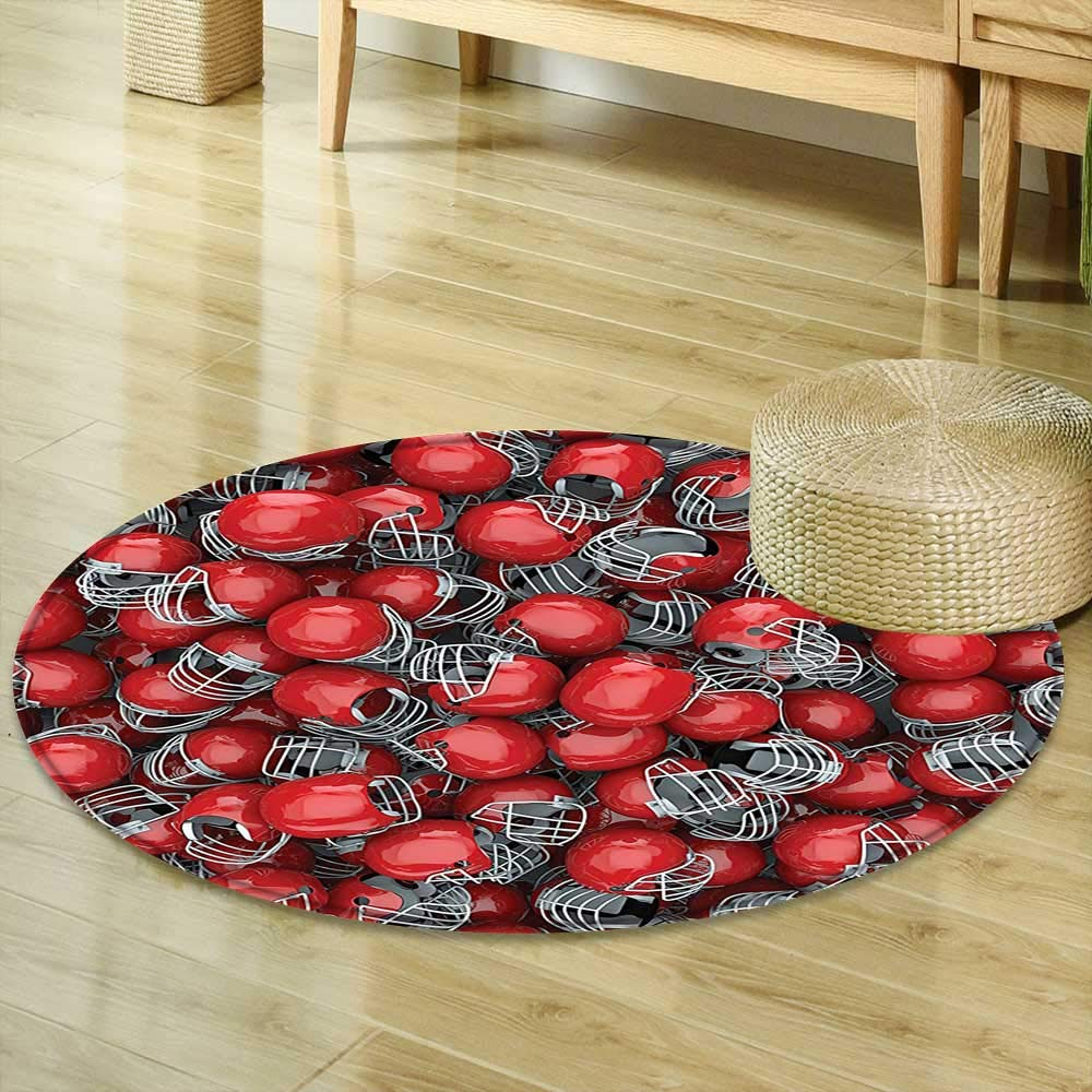 Mikihome Round Rug Kid Carpet Sports Decor Collection College Football Helmets Headgear Competition Defense Sportsman Image Pattern Red and Dimgray Home Decor Foor Carpe R-35