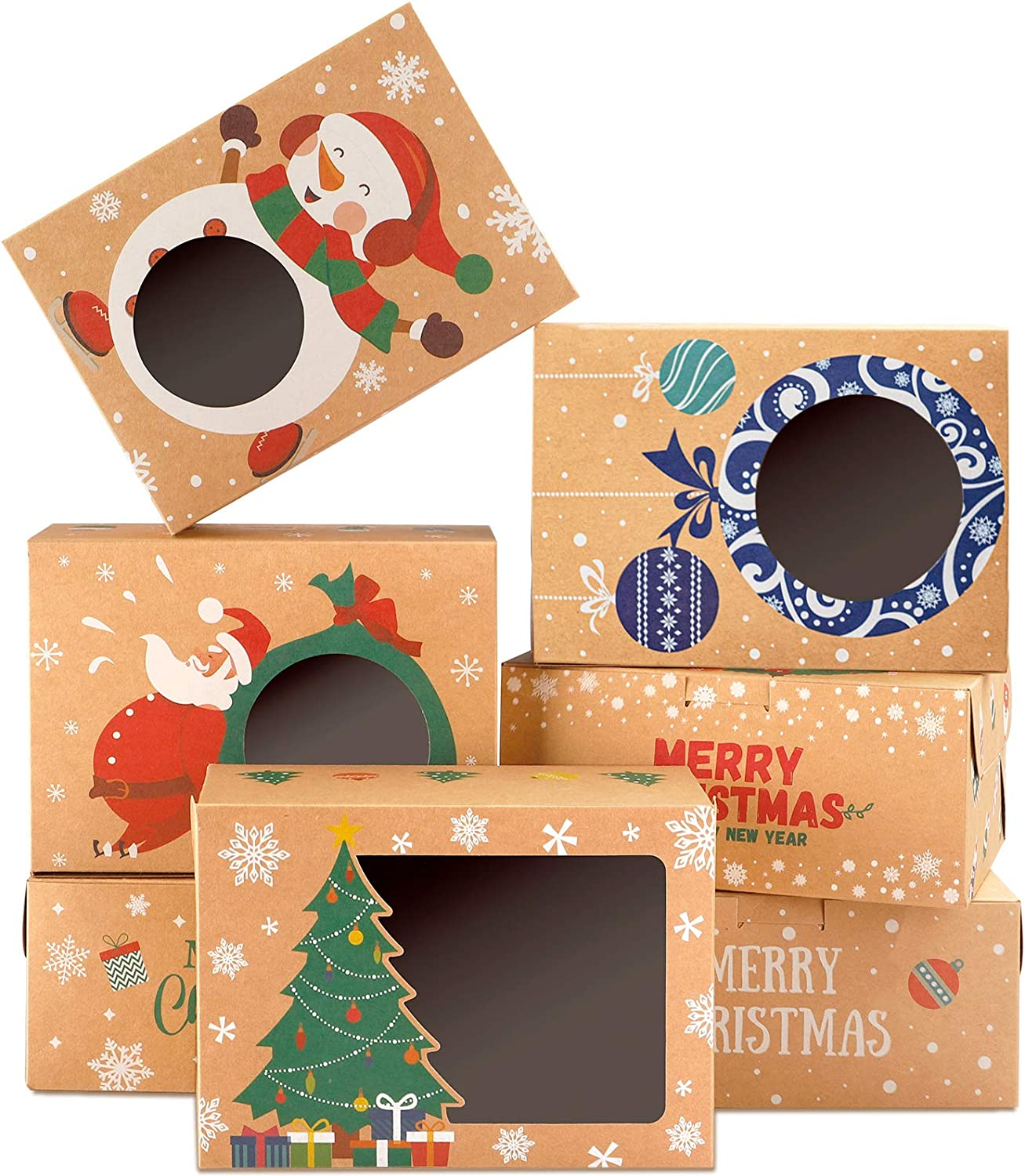 TOMNK 18 Pieces Christmas Cookie Boxes Kraft Baking Box with Window for Cupcakes, Candy, Holiday Bakery Treat and Party Favor 8.3 x 5.9 x 3.7 Inches