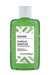 Amazon Brand - Solimo Sunburn Relief Gel with Aloe Vera, 8 Fluid Ounce