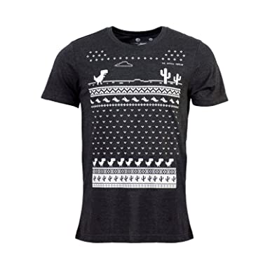 1ea78f9150143f Mens Glow in The Dark Christmas Offline Google Andriod Chrome Dinosaur T- Shirt - Dark Grey - A Fun Alternative to The Christmas Jumper   Amazon.co.uk  ...