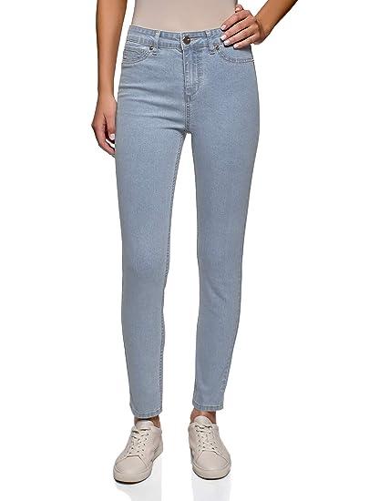 oodji Ultra Femme Jean Skinny Raccourci à Taille Haute, Bleu, 26W   32L ( 66d4dac56b0f