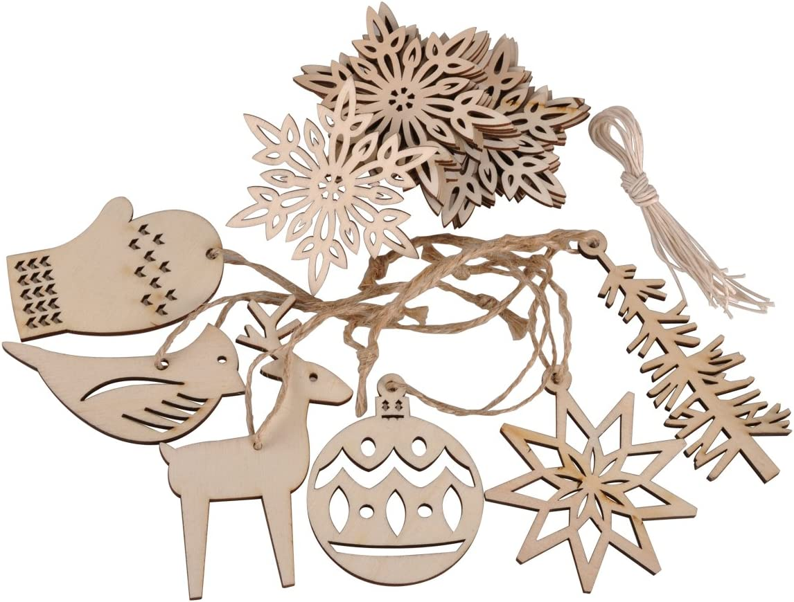 eZAKKA Wooden Christmas Ornaments Xmas Tree Hanging Tags Pendant Embellishments Crafts Decor for Christmas Tree Holiday Decorations Wedding with Strings, Pack of 16