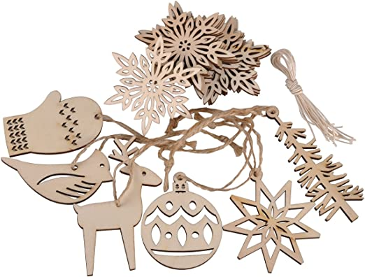 9 Natural Wooden Christmas Trees Card Making Scrapbook Craft Embellishments
