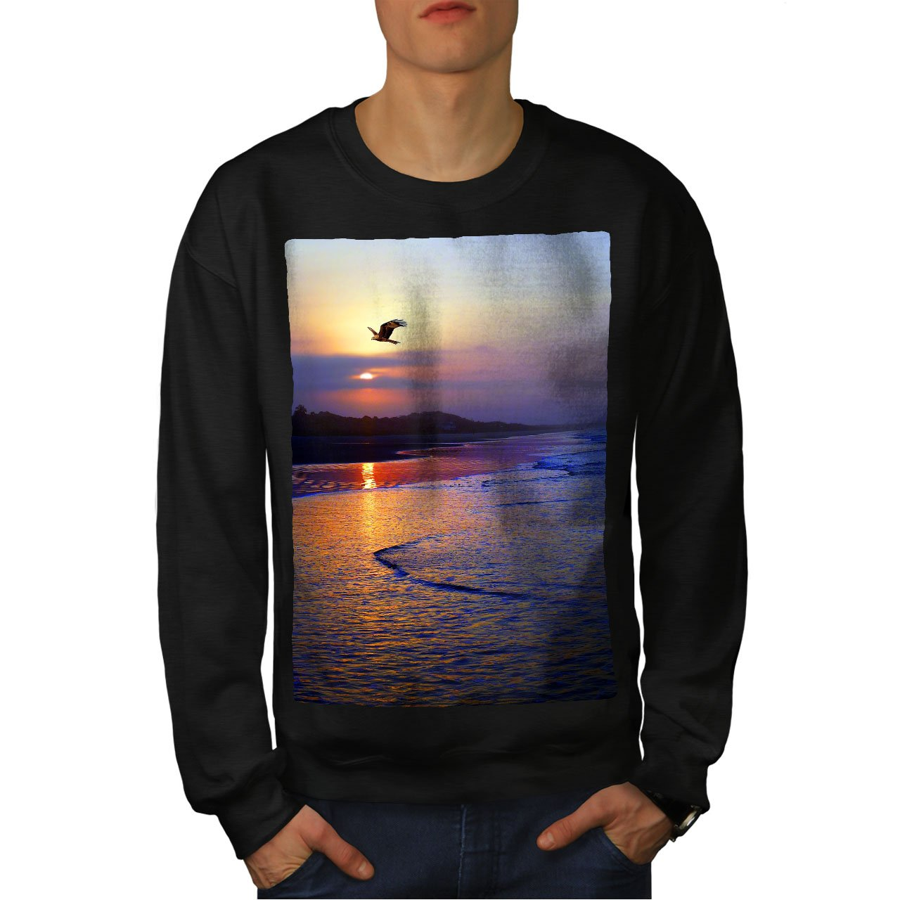 wellcoda Beach Sunset Photo Mens Sweatshirt Late Casual Jumper