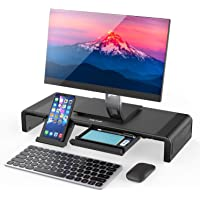 Jelly Comb Monitor Stand Riser with Storage Drawer and Phone Stand (Black)