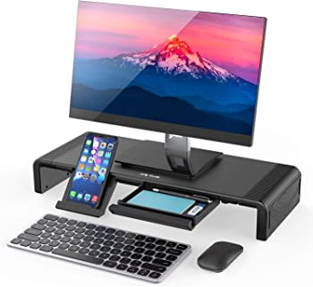 Jelly Comb Monitor Stand Riser with Storage Drawer and Phone Stand