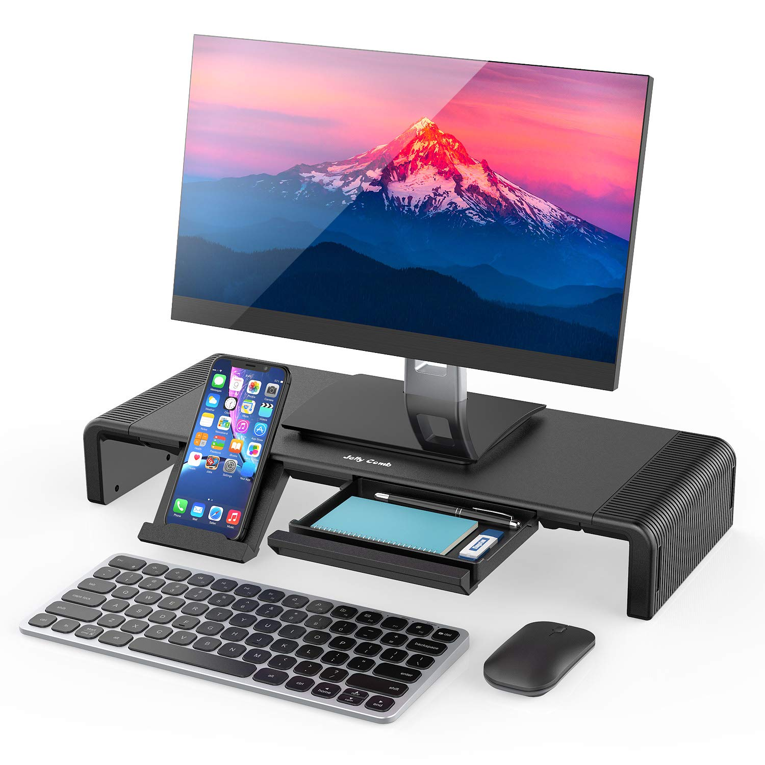 Monitor Stand Riser, Jelly Comb Foldable Computer Monitor Riser, Computer Stand with Storage Drawer, Phone Stand for Computer, Desktop, Laptop, Save Space (Black) by Jelly Comb